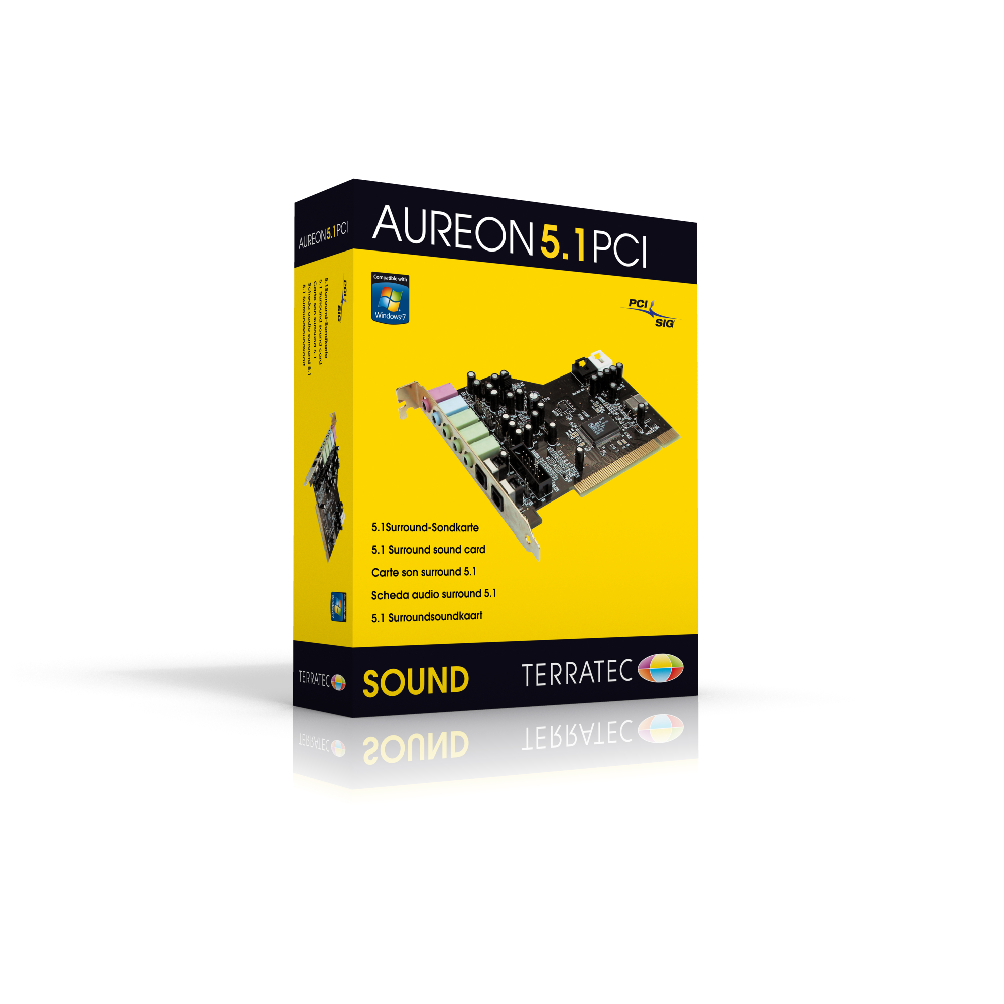 Terratec aureon 5. 1 pci, sound card with 3. 5 mm and optical.